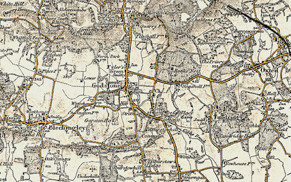 Old map of Church Town in 1898-1902