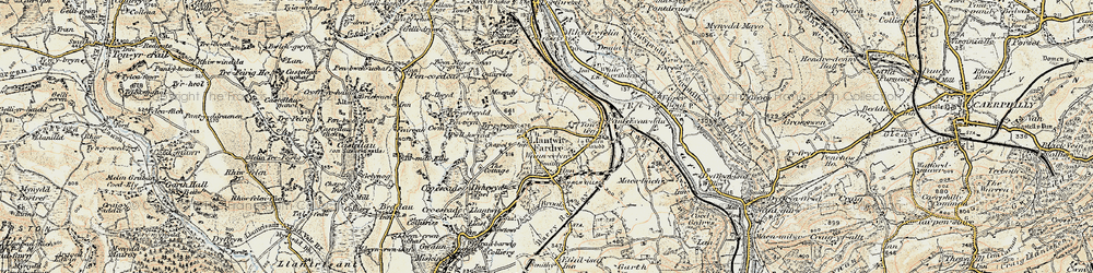 Old map of Church Village in 1899-1900