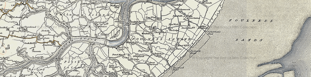 Old map of Foulness Island in 1898