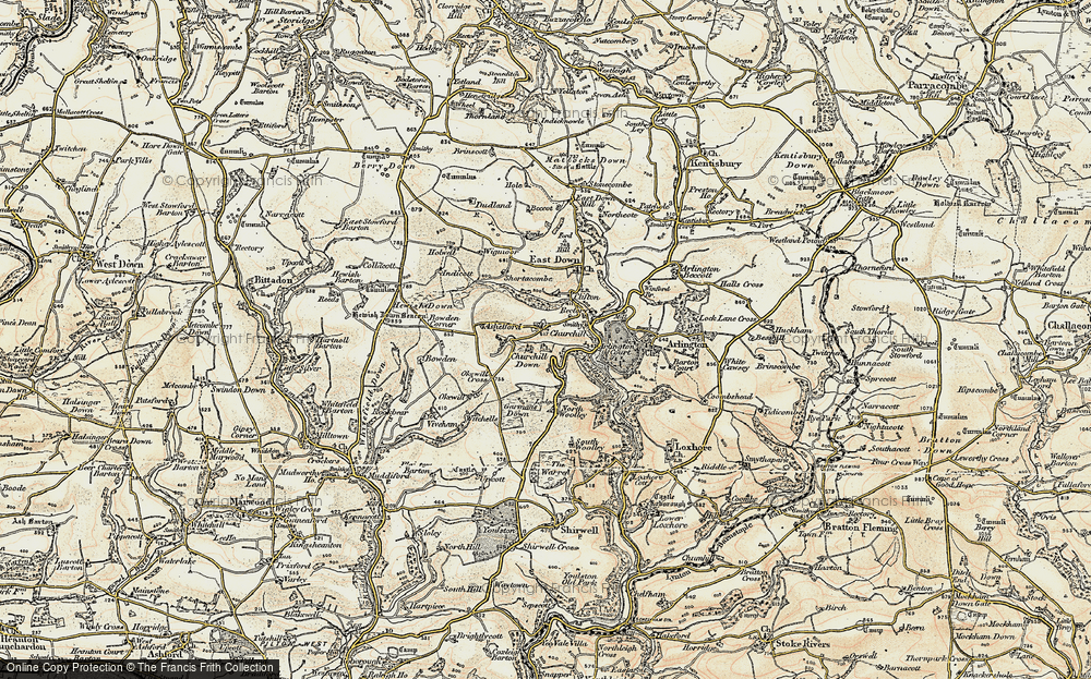 Old Map of Historic Map covering Ashelford in 1900