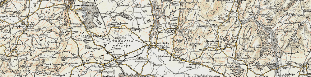 Old map of Churchstoke in 1902-1903