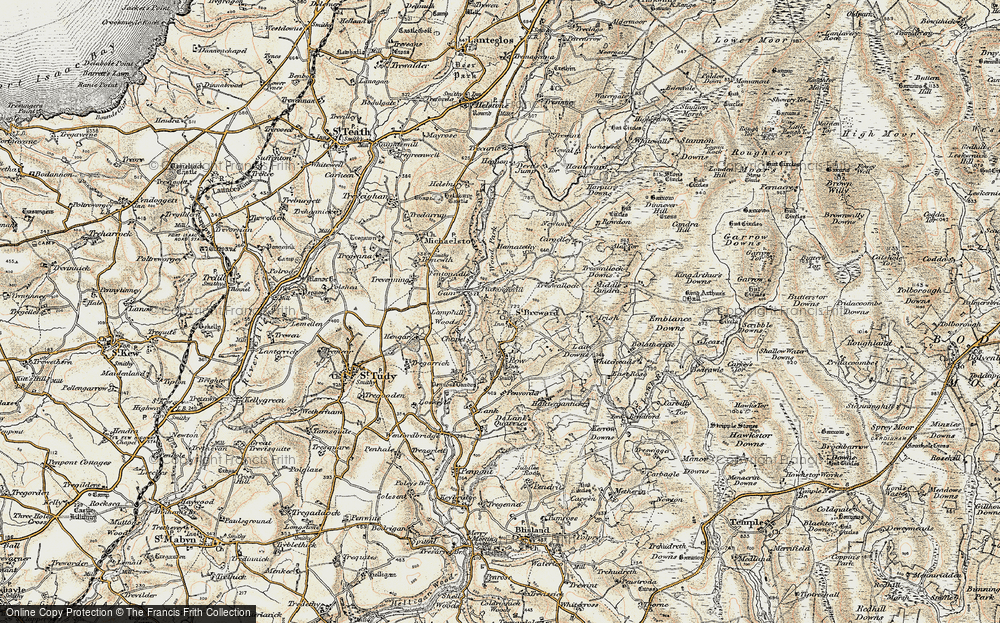 Old Map of Historic Map covering Alex Tor in 1900
