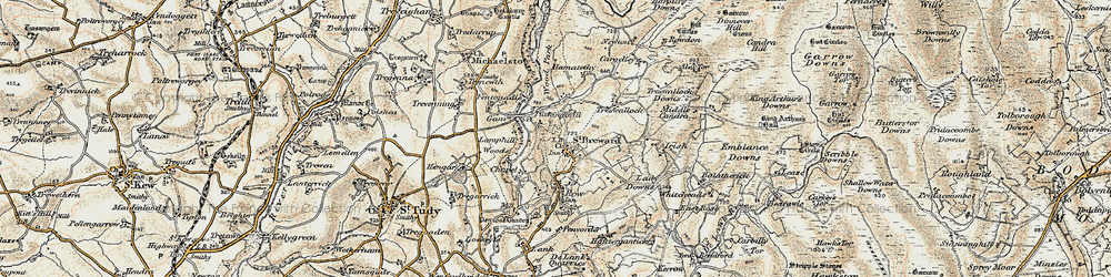 Old map of Alex Tor in 1900