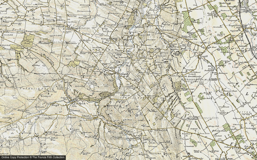 Old Map of Historic Map covering Lime Kiln Nook in 1901-1904