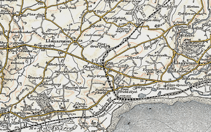 Old map of Chwilog in 1903