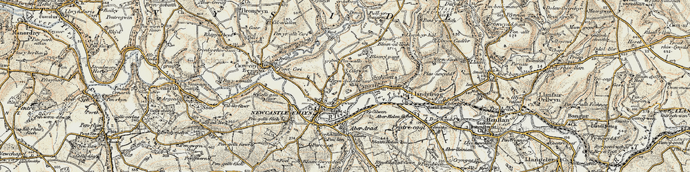 Old map of Afon Teifi in 1901