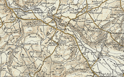 Old map of Ciliau Aeron in 1901-1903