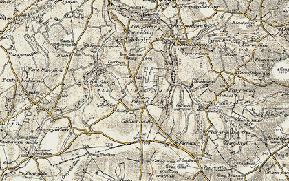 Old map of Afon Pedian in 1901