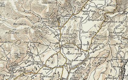 Old map of Afon Gwenlais in 1900-1902