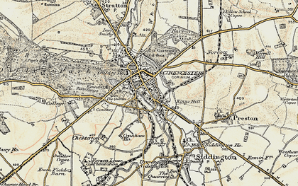 Old map of Cirencester in 1898-1899