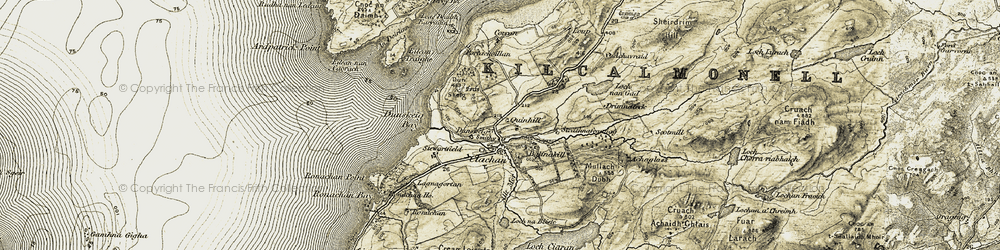 Old map of Ardpatrick Point in 1905-1907