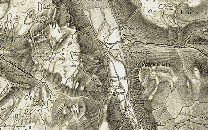 Old map of Allt a' Gharbhain in 1908-1912