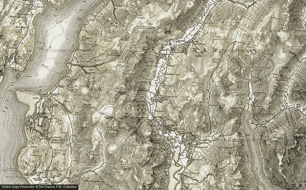 Old Map of Historic Map covering Auchategan in 1905-1907