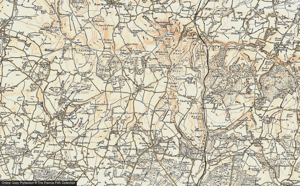 Old Map of Historic Map covering Windmill Hill in 1897-1900
