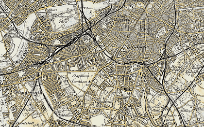 Old map of Clapham in 1897-1902