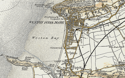 Old map of Weston Bay in 1899-1900