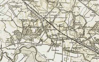 Old map of Thwaite Burn in 1901-1904