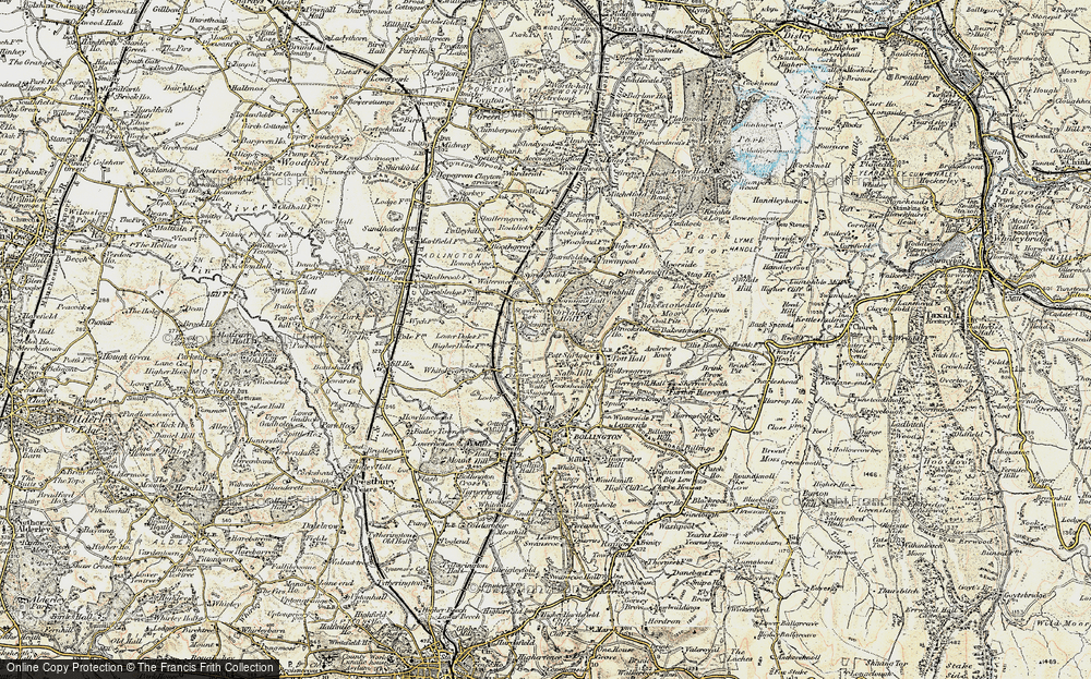 Old Map of Historic Map covering Lane Head in 1902-1903
