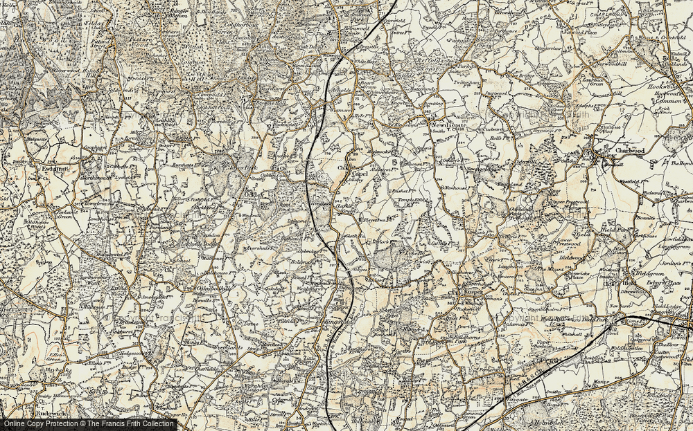 Old Map of Historic Map covering Tiphams in 1898-1909