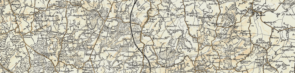 Old map of Tiphams in 1898-1909