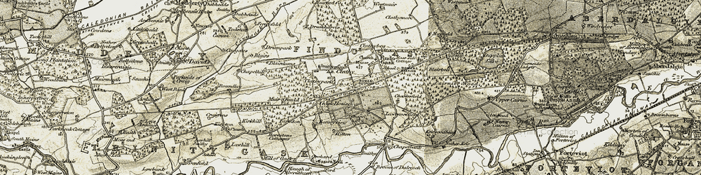Old map of Witch Knowe (Roman Signal Station) in 1906-1908