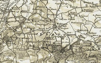Old map of Auchendellan in 1908-1910