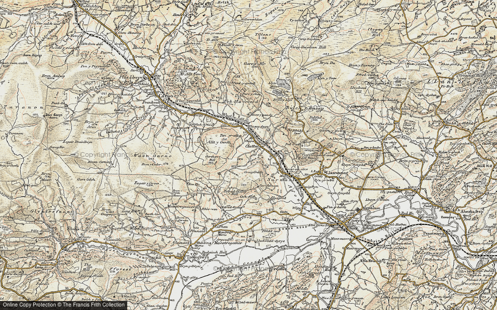 Old Map of Historic Map covering Allt y Genlli in 1902-1903