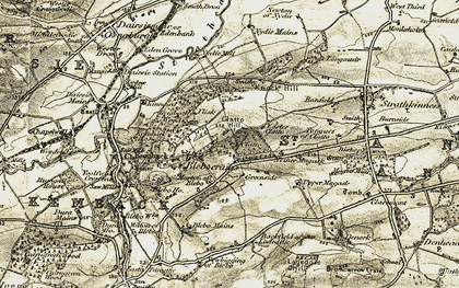 Old map of Clatto in 1906-1908