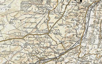 Old map of Clawdd-newydd in 1902-1903