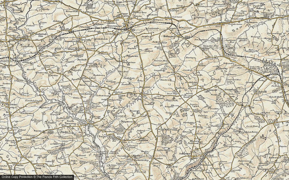 Old Map of Historic Map covering Tinacre in 1900