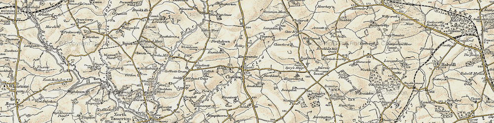 Old map of Tinacre in 1900