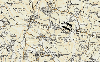 Old map of Clay End in 1898-1899