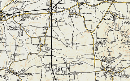 Old map of Claydon in 1899-1900