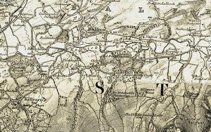Old map of Ballikinrain Burn in 1904-1907