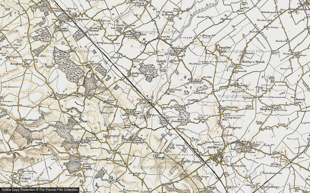 Old Map of Historic Map covering Aby Grange in 1902-1903