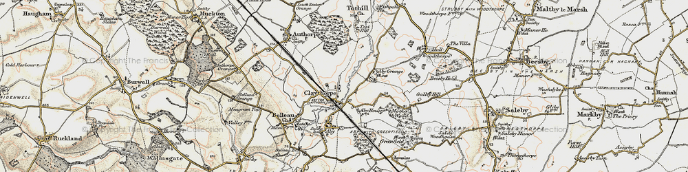 Old map of Aby Grange in 1902-1903