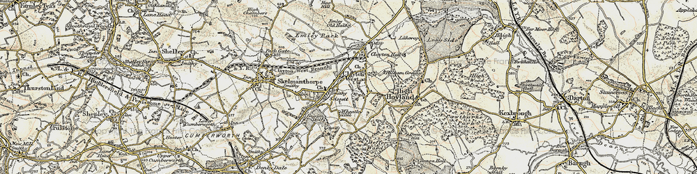 Old map of Clayton West in 1903