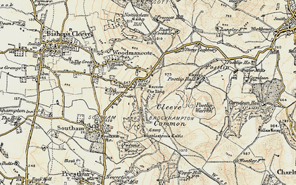 Old map of Cleeve Hill in 1899-1900
