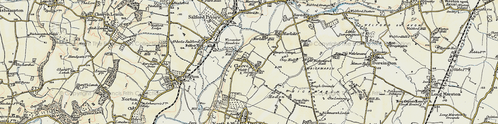Old map of Cleeve Prior in 1899-1901