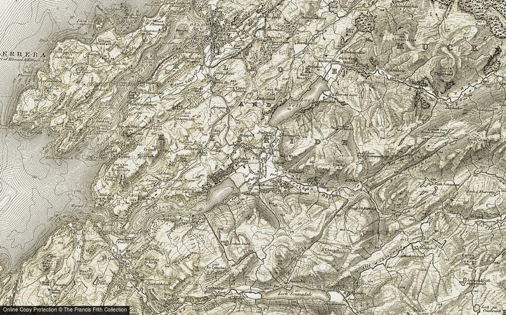 Old Map of Historic Map covering Balinoe in 1906-1907