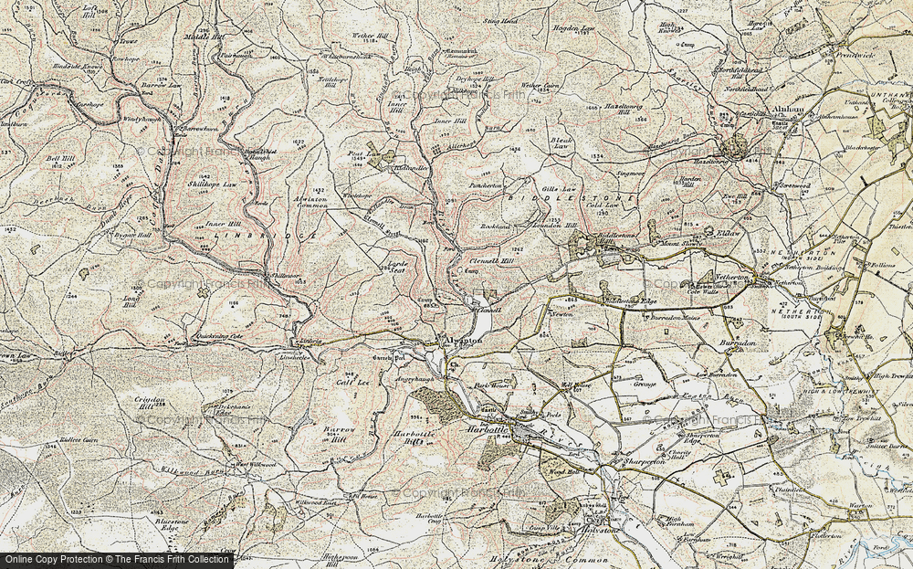 Old Map of Historic Map covering Allerhope Burn in 1901-1903