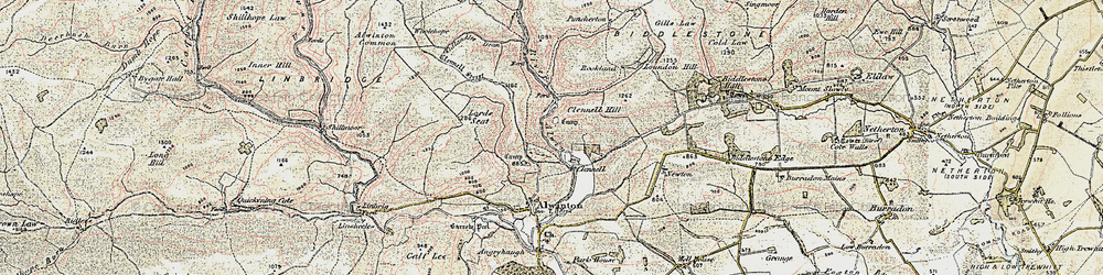 Old map of Wholehope in 1901-1903
