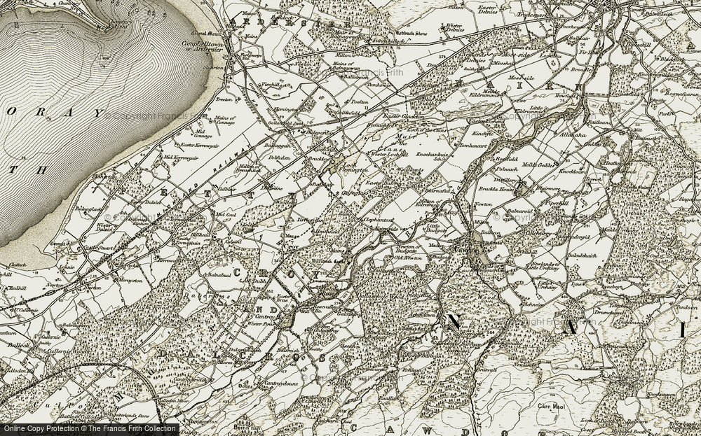 Old Map of Historic Map covering Tirfogrein in 1911-1912