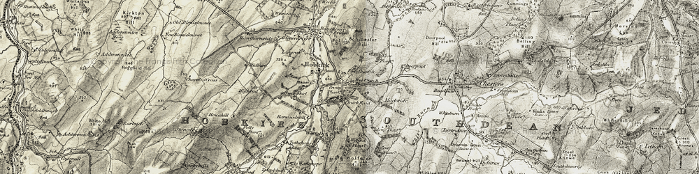Old map of Wolfelee Hill in 1901-1904