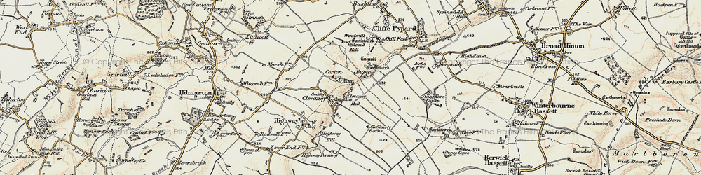 Old map of Woohill Village in 1898-1899