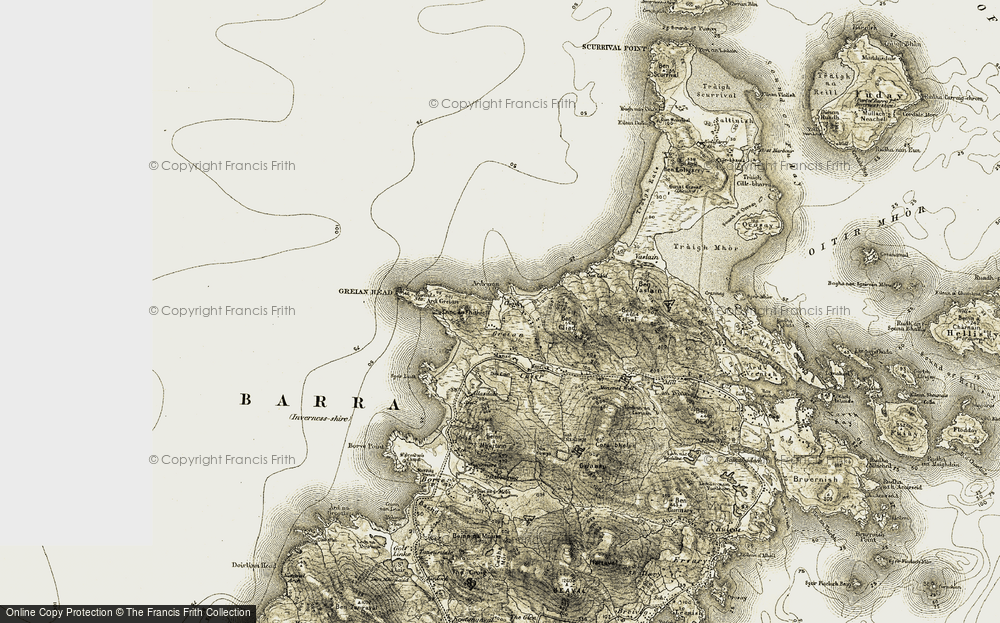 Old Map of Historic Map covering Àird Mhurain in 1911