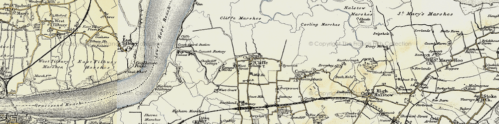 Old map of Cliffe in 1897-1898