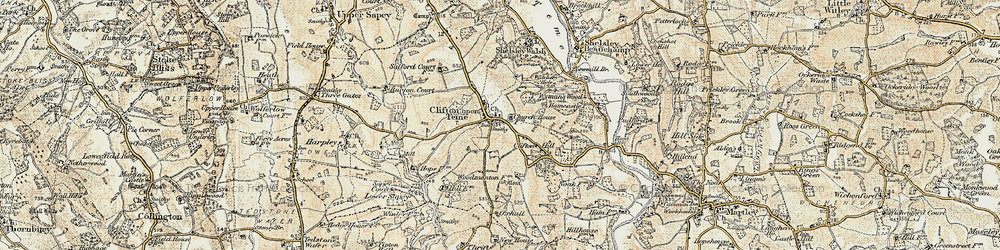 Old map of Clifton upon Teme in 1899-1902