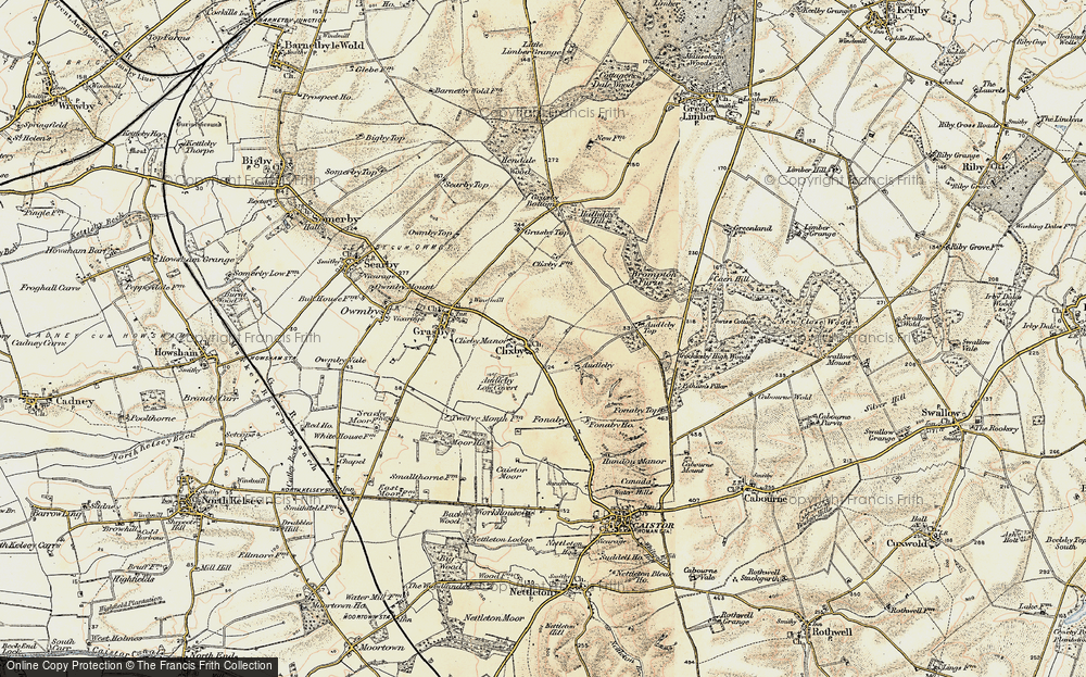 Old Map of Historic Map covering Audleby Low Covert in 1903-1908