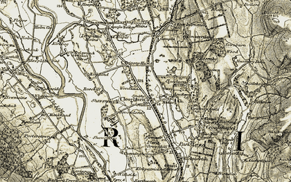 Old map of Laught Mains in 1904-1905